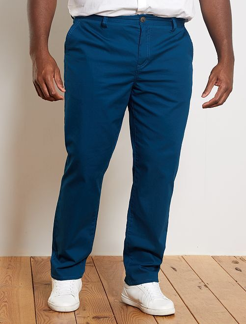Pantalon chino regular en oxford                                                                 bleu canard