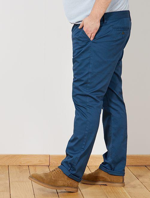 Pantalon chino regular en oxford                                                                                                     BLEU Grande taille homme