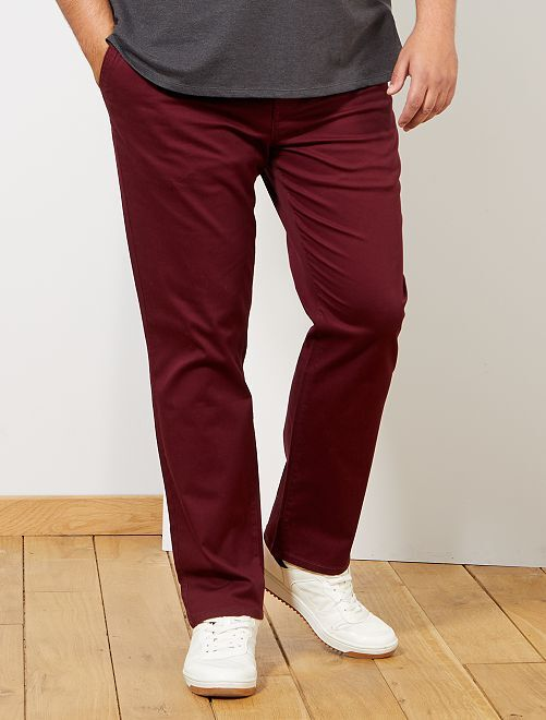 Pantalon chino regular en oxford                                                                                                                 bordeaux