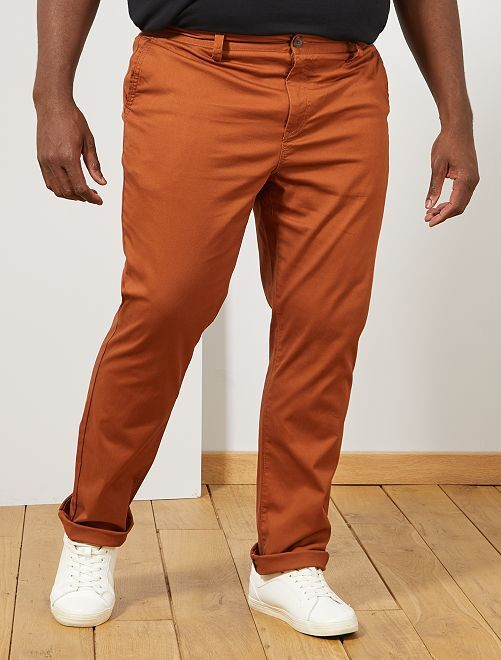 Pantalon chino regular en oxford                                                                             marron Grande taille homme