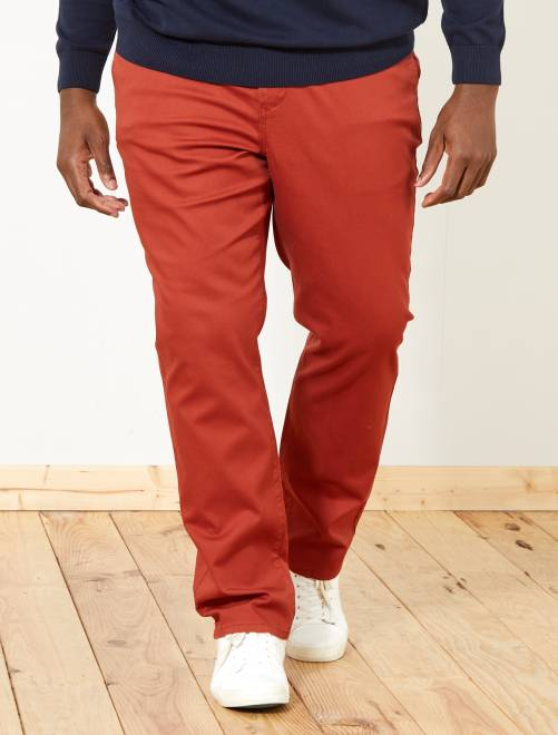 Pantalon chino regular en oxford                                                                                                                 rouge brique