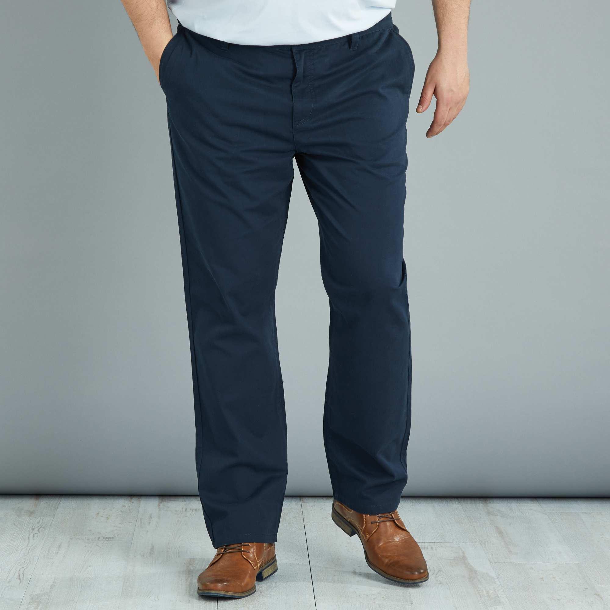 pantalon chino regular en twill grande taille homme bleu. Black Bedroom Furniture Sets. Home Design Ideas