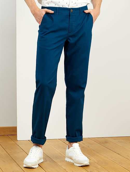 Pantalon chino regular L36 +1m90                                         bleu canard