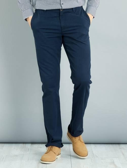 pantalon chino regular l38 1m90 homme bleu marine. Black Bedroom Furniture Sets. Home Design Ideas