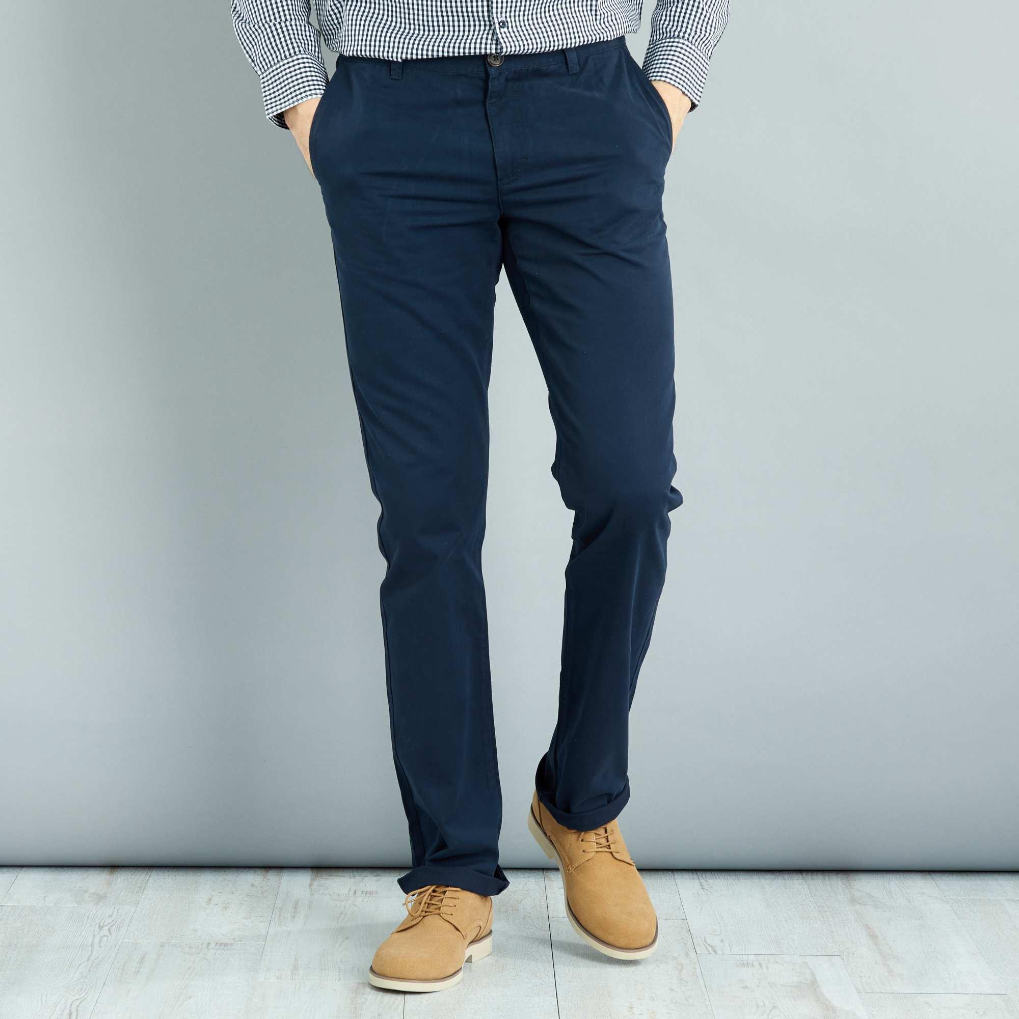 pantalon chino regular l38 1m90 homme bleu marine kiabi 22 00. Black Bedroom Furniture Sets. Home Design Ideas