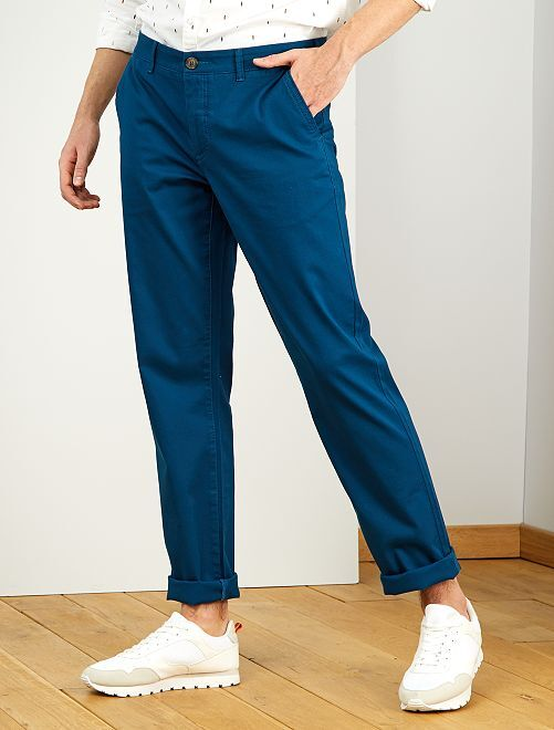 Pantalon chino regular L38 +1m95                                                     bleu canard