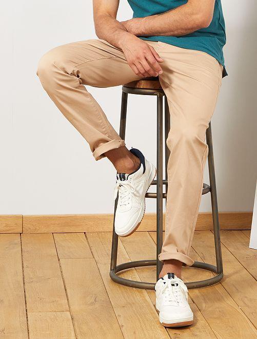 Pantalon chino regular maille piquée                                                         beige Homme