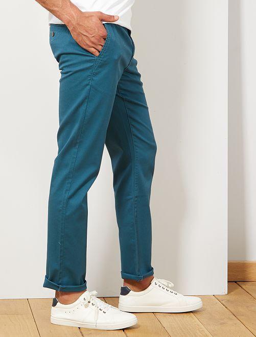 Pantalon chino regular maille piquée                                                                                                                             bleu canard