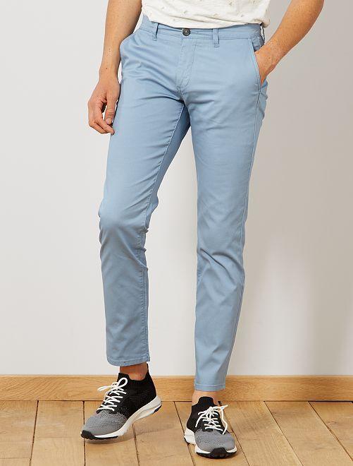 Pantalon chino regular maille piquée                                                                                                                 bleu denim Homme