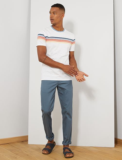 Pantalon chino regular maille piquée                                                                                                                 bleu gris Homme