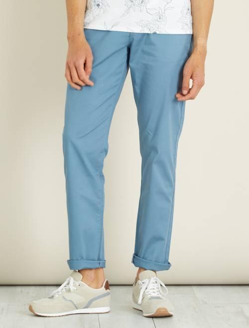 Pantalon chino regular maille piquée                                                                             bleu Homme