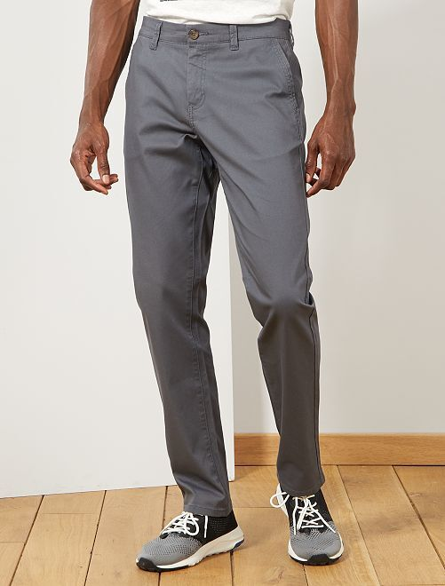 Pantalon chino regular maille piquée                                                                                                                                                                 gris