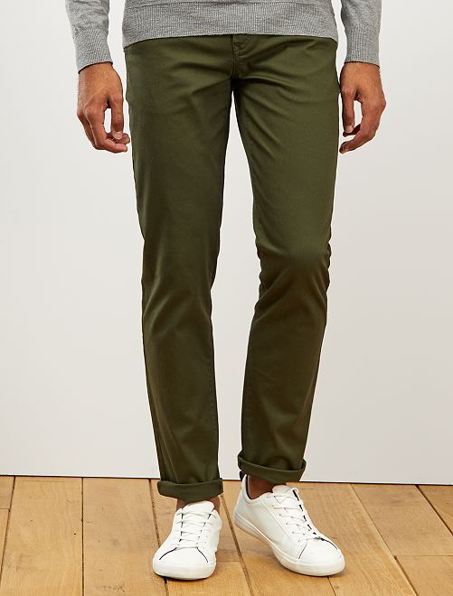 Pantalon chino regular maille piquée                                                                                                                 vert fôret