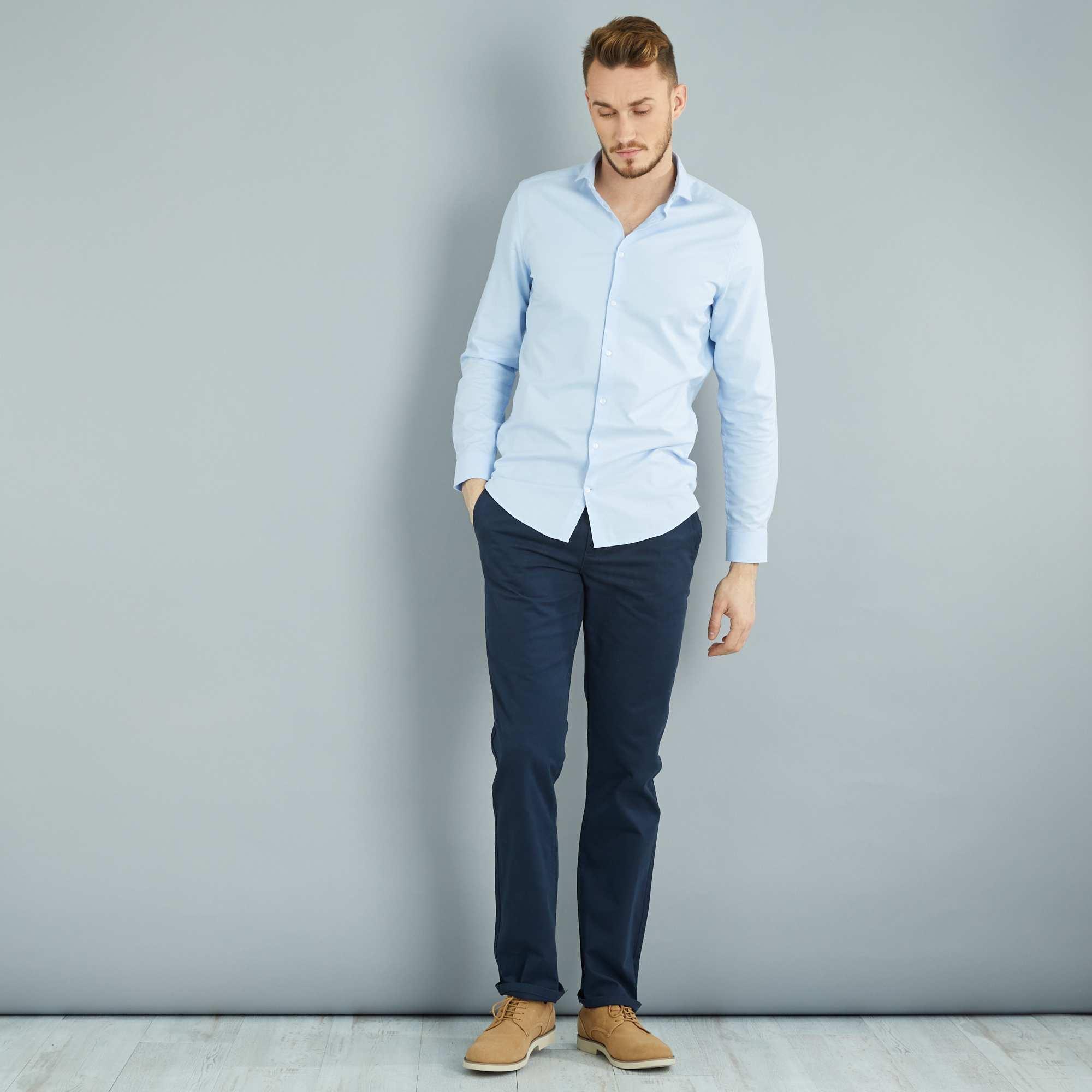 pantalon chino regular pur coton l36 1m90 homme bleu. Black Bedroom Furniture Sets. Home Design Ideas