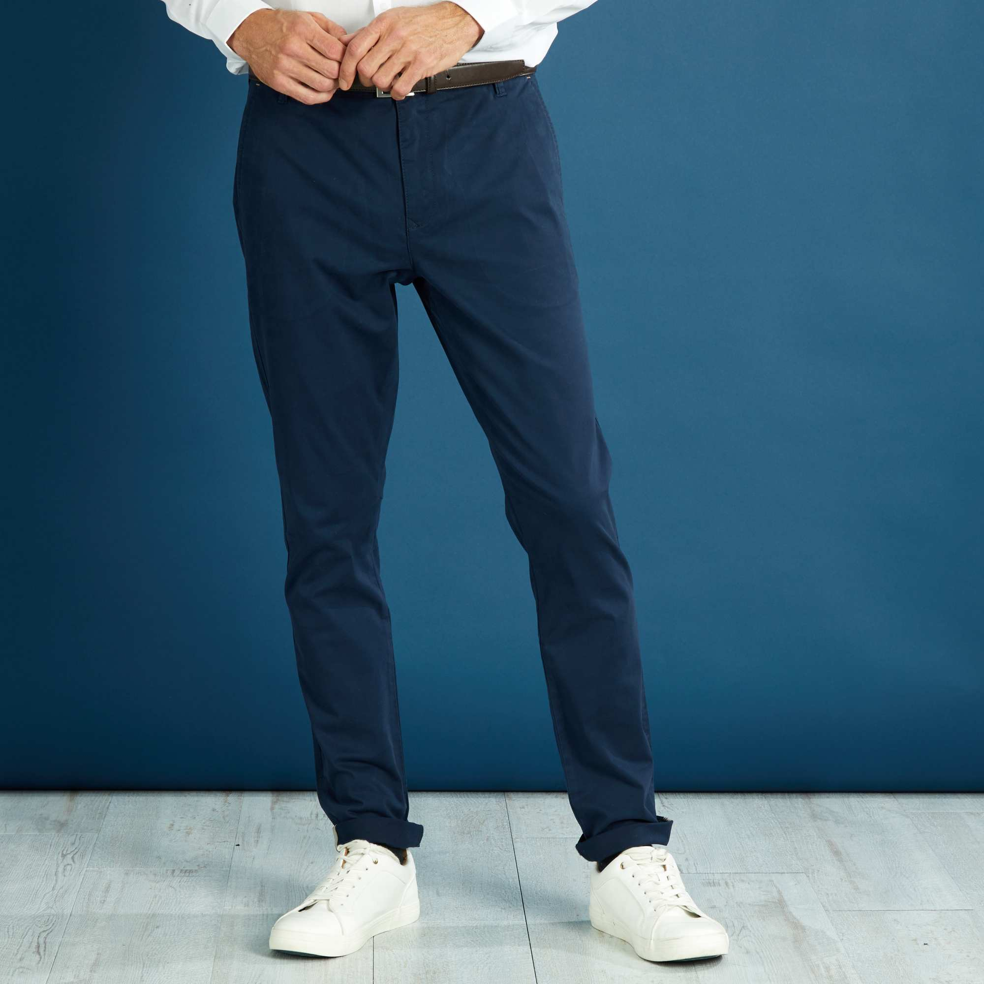 pantalon chino skinny homme bleu marine kiabi 10 00. Black Bedroom Furniture Sets. Home Design Ideas