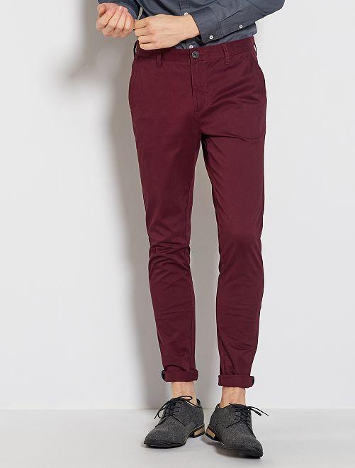 Pantalon chino skinny                                                                 bordeaux