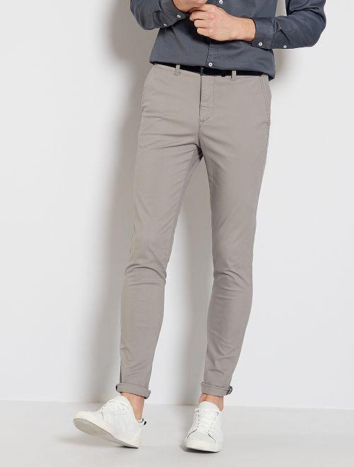 Pantalon chino skinny + ceinture                                                     gris