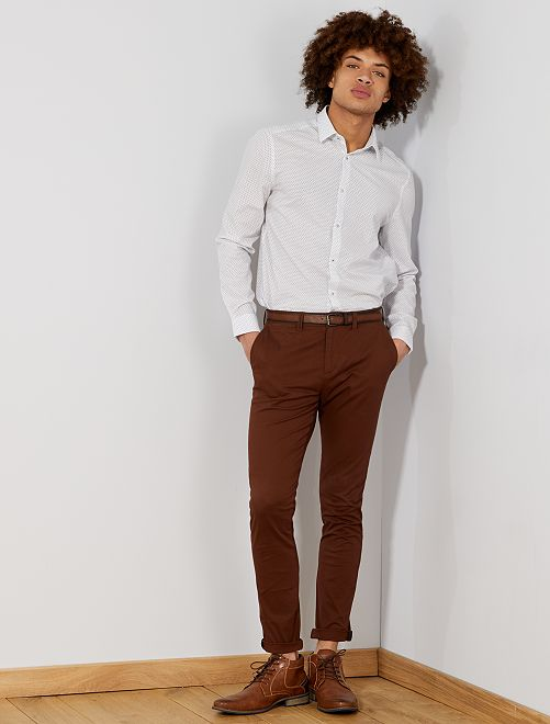 Pantalon chino skinny + ceinture                             marron Homme