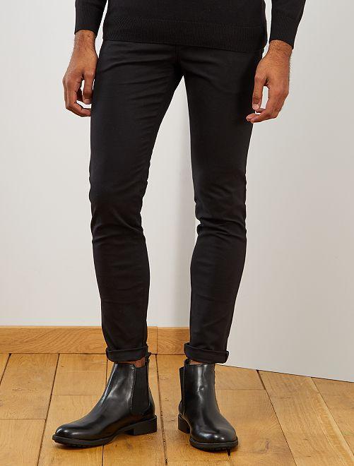 Pantalon chino skinny + ceinture                             noir Homme