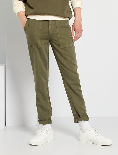Pantalon chino skinny en lyocell                                         kaki