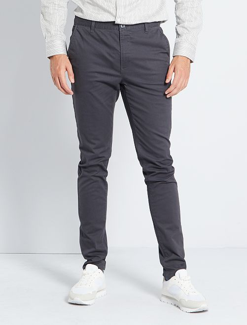 Pantalon chino skinny L38 +1m95                                                                 gris foncé