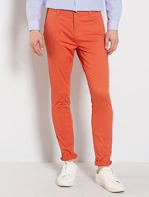 Pantalon chino skinny                                                                 rouge orangé
