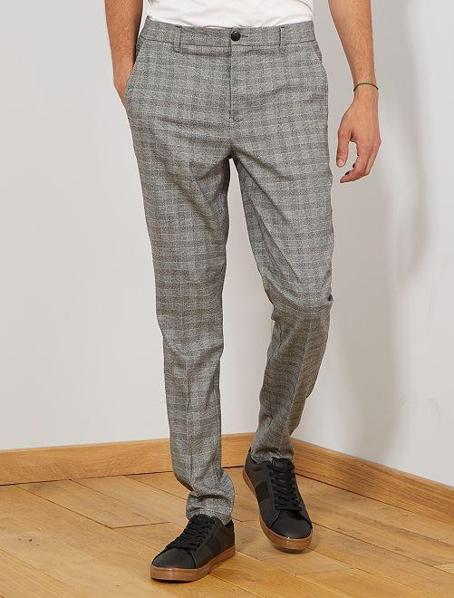 Pantalon chino slim à carreaux                             gris