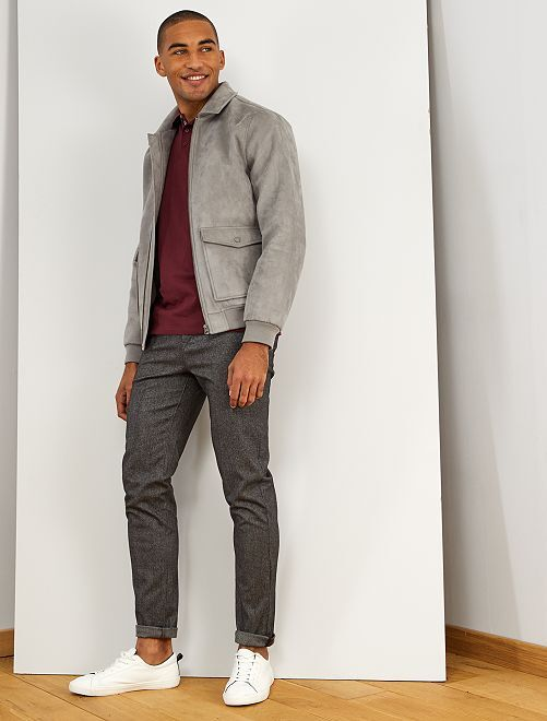 Pantalon chino slim à chevrons                             gris