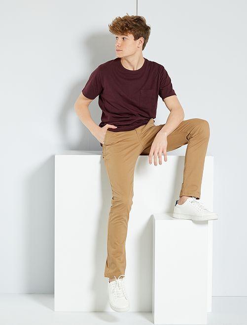 Pantalon chino slim                                                                                         BEIGE Garçon adolescent