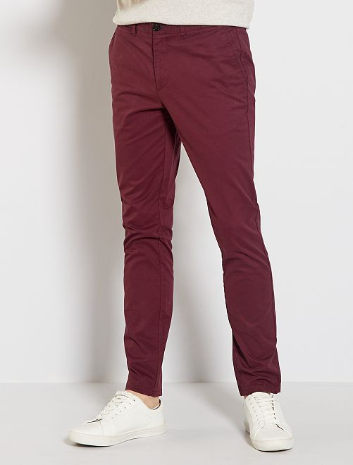 Pantalon chino slim                                                                             bordeaux