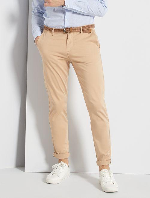 Pantalon chino slim + ceinture                                                                             beige
