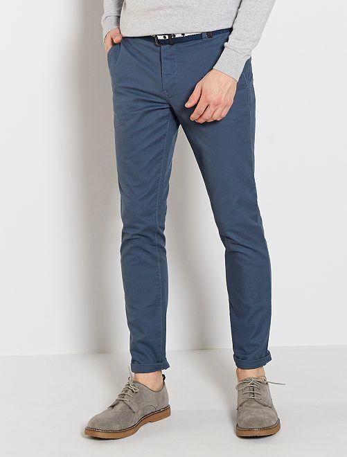 Pantalon chino slim + ceinture                                                                 bleu gris