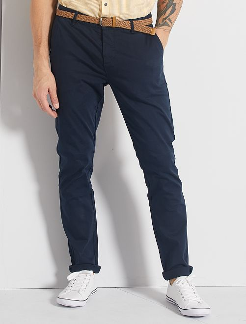 Pantalon chino slim + ceinture                                                                                         bleu marine