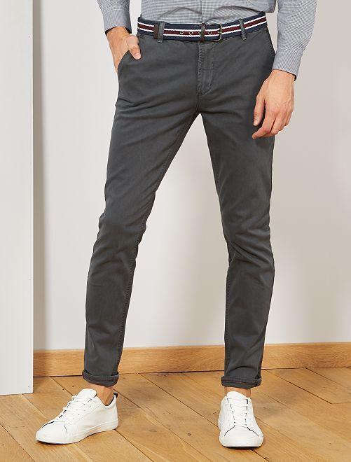 Pantalon chino slim + ceinture                                                                 gris