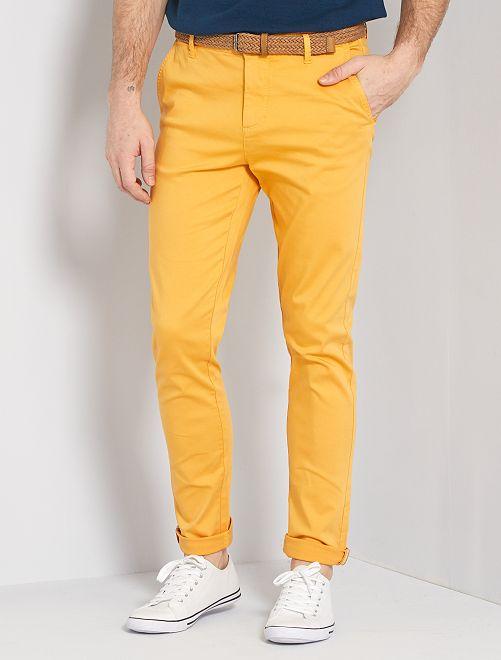 Pantalon chino slim + ceinture                                                                             jaune