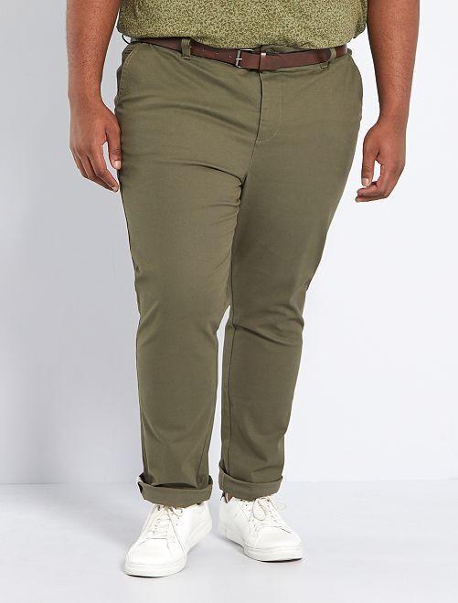 Pantalon chino slim + ceinture                             kaki