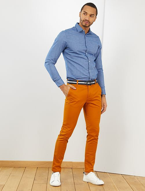 Pantalon chino slim + ceinture                     rouille