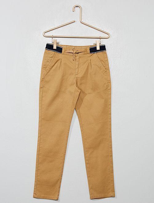 Pantalon chino slim ceinture sport                                                                 beige