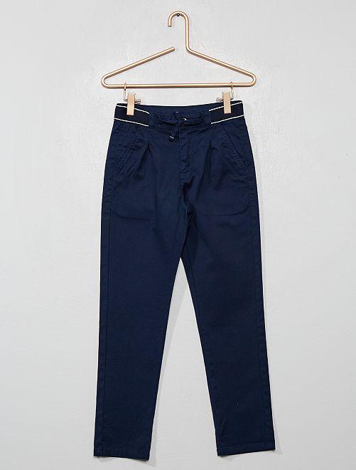 Pantalon chino slim ceinture sport                                                                 bleu marine