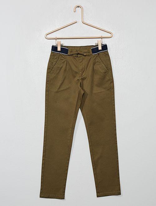 Pantalon chino slim ceinture sport                                                                 kaki