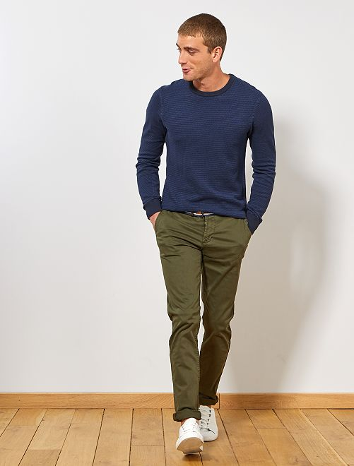 Pantalon chino slim + ceinture                                                     vert fôret