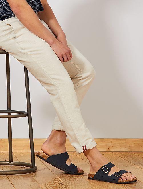 Pantalon chino slim coton et lin                                         beige clair