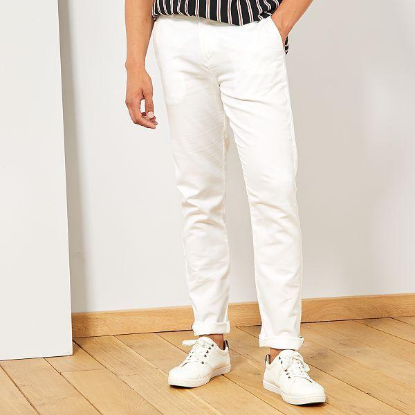 style classique de 2019 style limité super pas cher Pantalon chino slim coton et lin