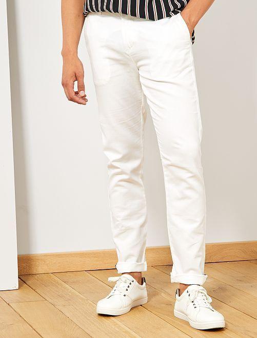 Pantalon chino slim coton et lin                                         blanc Homme