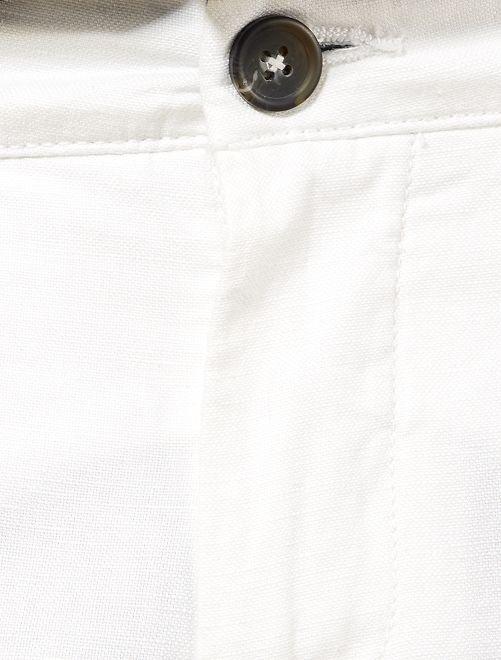 e32707fbba0df Pantalon chino slim coton et lin Homme - blanc - Kiabi - 20,00€