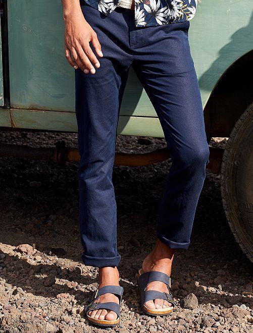 Pantalon chino slim coton et lin                                         bleu marine