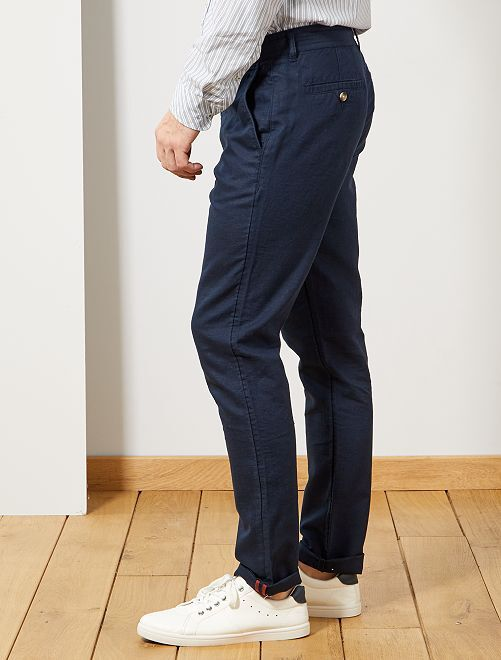 Slim Coton Lin Et Pantalon Chino mNOn80wv