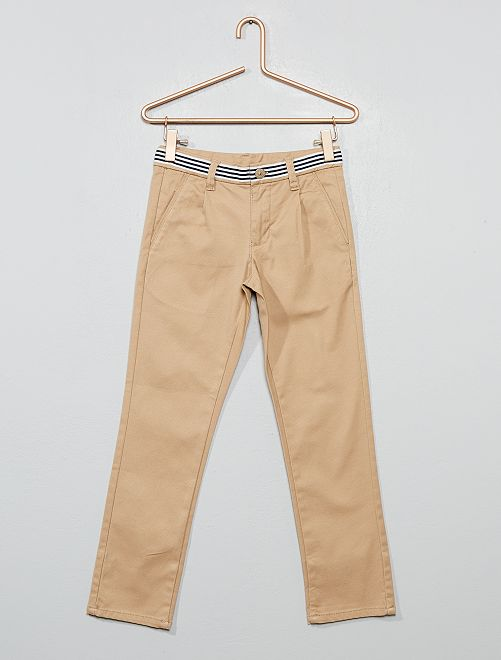 Pantalon chino slim en coton stretch                                                                 beige
