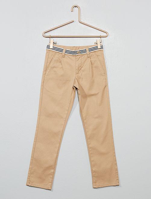 Pantalon chino slim en coton stretch                                                     beige