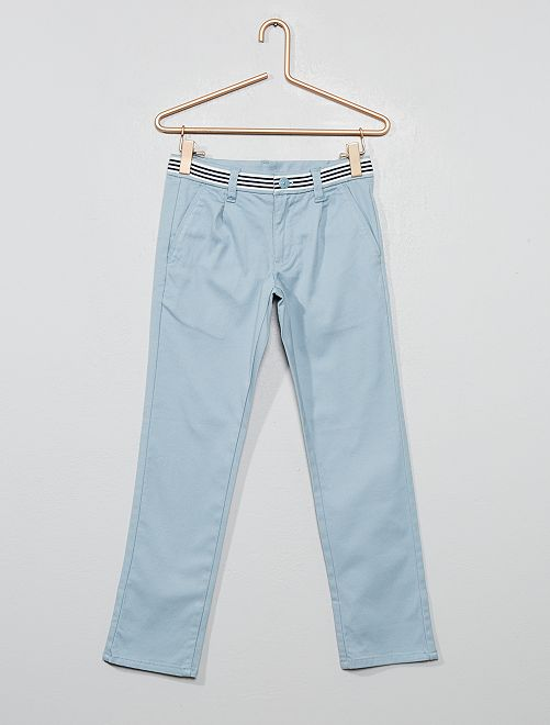 Pantalon chino slim en coton stretch                     bleu gris